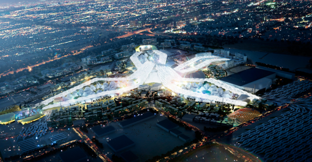 Aerial view of Dubai's proposed World Expo 2020 master plan at night.