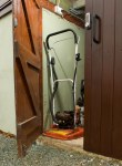 Shed door with push button lock